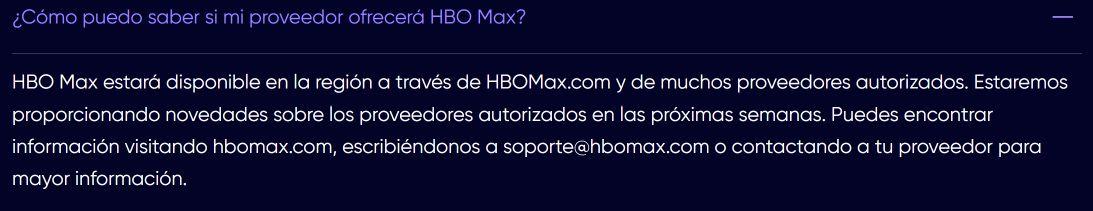 FAQ de HBO MAX - Captura de pantalla de HBO Max Latinoamérica