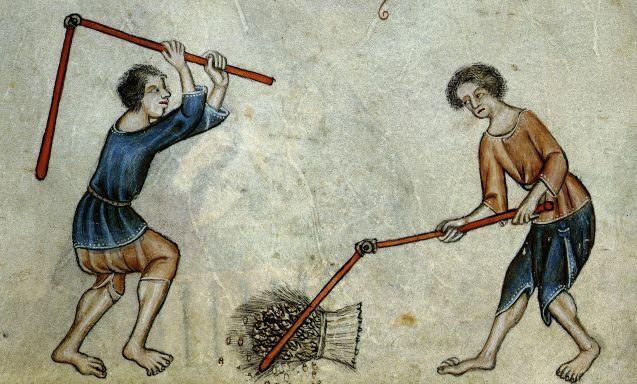 "Reproducción de la Obra ""Two Men Threshing Sheaf"" de Luttler Psalter"
