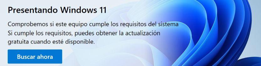 Botón de lanzamiento de la verificación de compatibilidad Windows 11 - Captura de pantalla