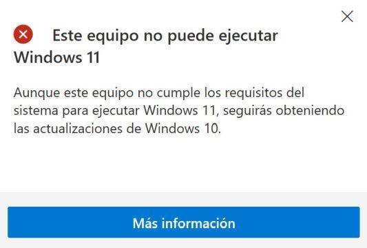 Este equipo no puede ejecutar Windows 11 - Captura de pantalla