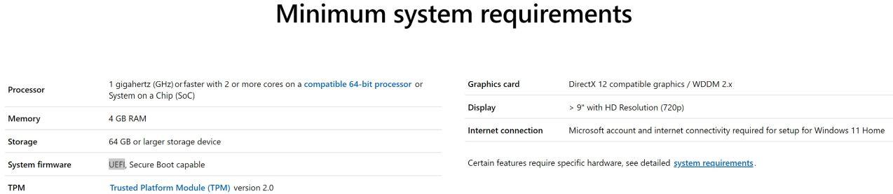 Requisitos Windows 11 - Captura de pantalla en pagina Microsoft