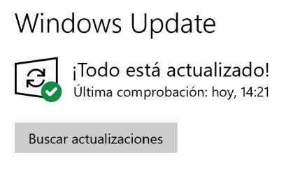 Windows actualizado - Captura de pantalla configuración de Windows