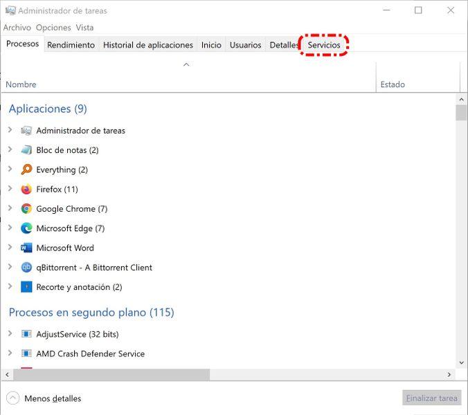 Administrador de tareas de Windows - Captura de pantalla 600