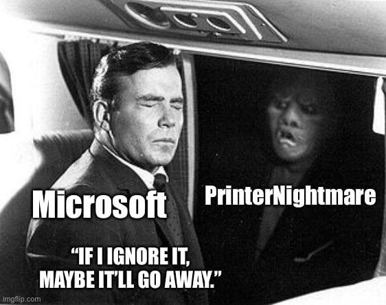 Spooler desactivado - Un meme burlándose de Microsoft – Origen imgflip.com
