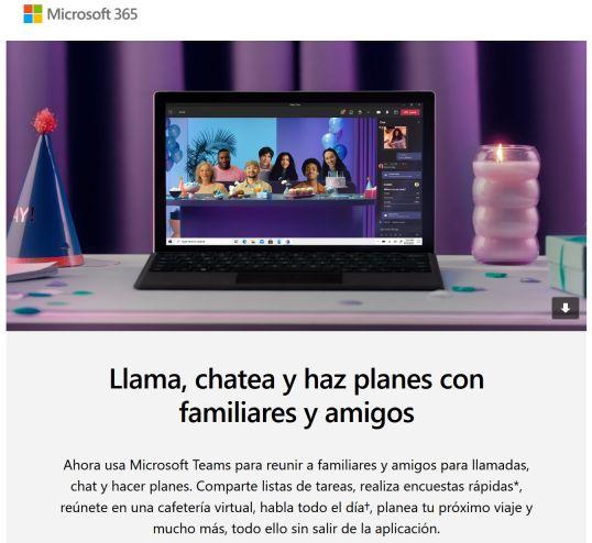 Teams parte de Microsoft 365 - extracto de un correo de Microsoft