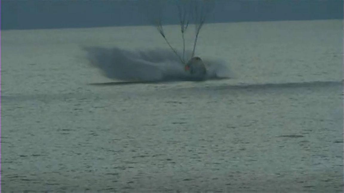 Inspiration4 splashing down - Captura de pantalla del Live Streaming de SpaceX