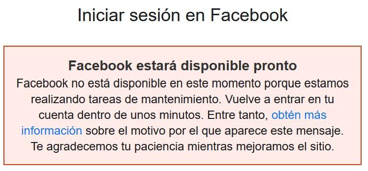 Facebook down (04/10/2021) - Captura de pantalla en el sitio